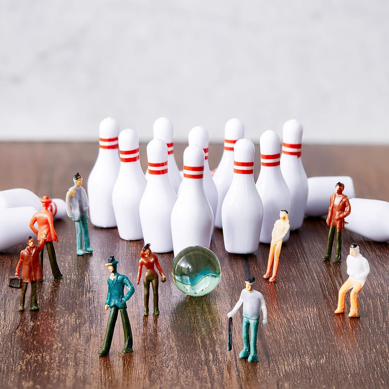 Ensemble de 55 Pi/èces Mini Bowling D/écoration de G/âteau de Bowling Boules de Quilles et Boules de Marbre pour la D/écoration de G/âteau Accessoires de F/ête Fourniture de F/ête Assorti