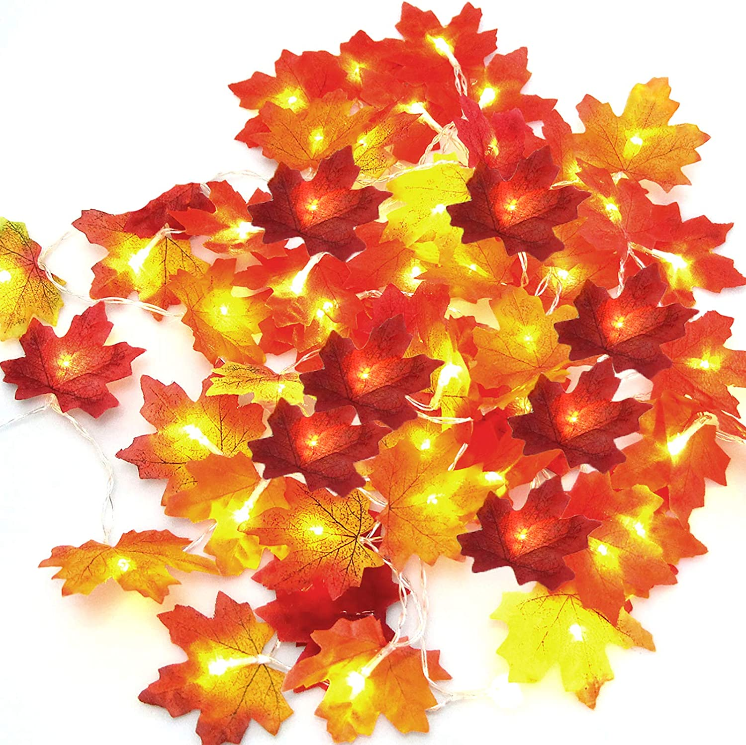 LOCOLO 2 Pieces Thanksgiving Decorations Lighted Fall Garland, 20 LED Red Fall Lights (9.8Ft), 30 LED Multicolor Maple Leaf String Lights (9.8Ft), Holiday Decorations String Lights