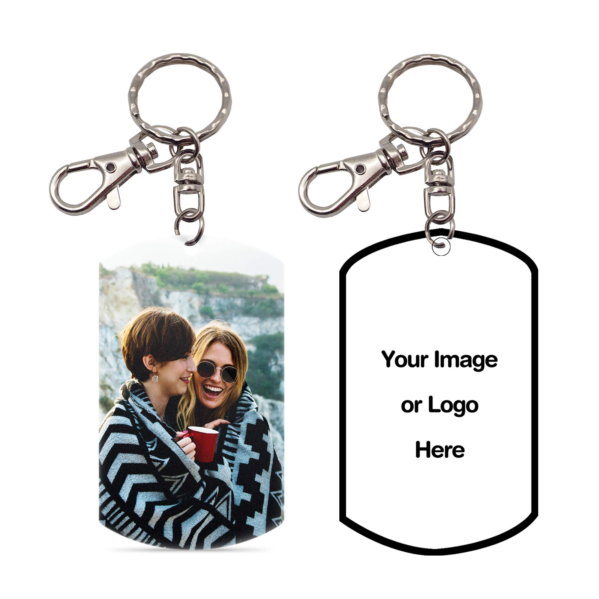 Pearl Pix Custom Key Chain, Personalized Photo Key Chain, Double Side, 1.8'' x 2.9'' Military Tag Shape, Photo on Each Side, Great Gift for Any Occasion - Make Your Own Key Chain by Pearl Pix