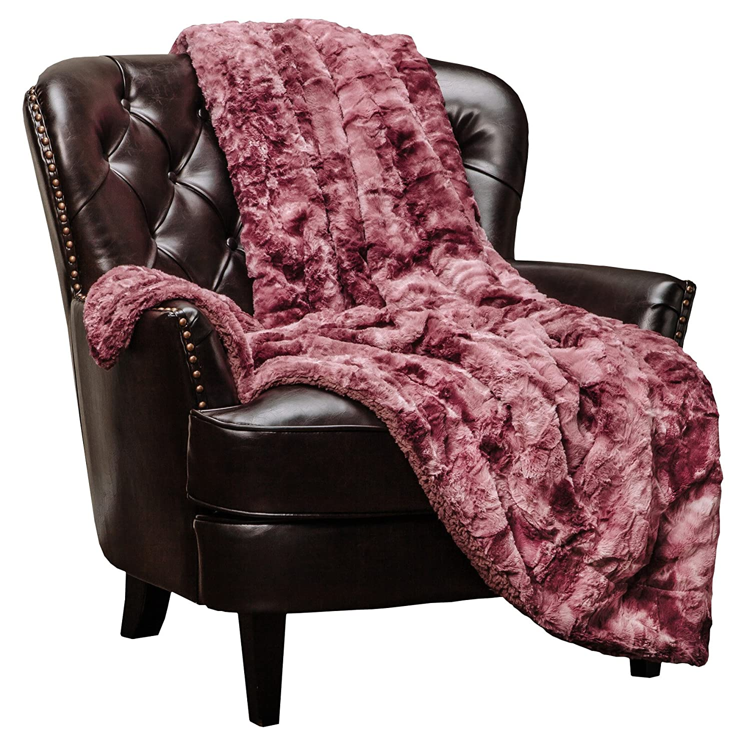"""Chanasya Faux Fur Throw Blanket   Super Soft Fuzzy Light Weight Luxurious Cozy Warm Fluffy Plush Hypoallergenic Blanket for Bed Couch Chair Fall Winter Spring Living Room (50"""" x 65"""") - Darkrose"""