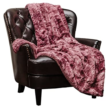 Chanasya Faux Fur Throw Blanket   Super Soft Fuzzy Light Weight Luxurious Cozy Warm Fluffy Plush Hypoallergenic Blanket for Bed Couch Chair Fall Winter Spring Living Room (50  x 65 ) - Darkrose
