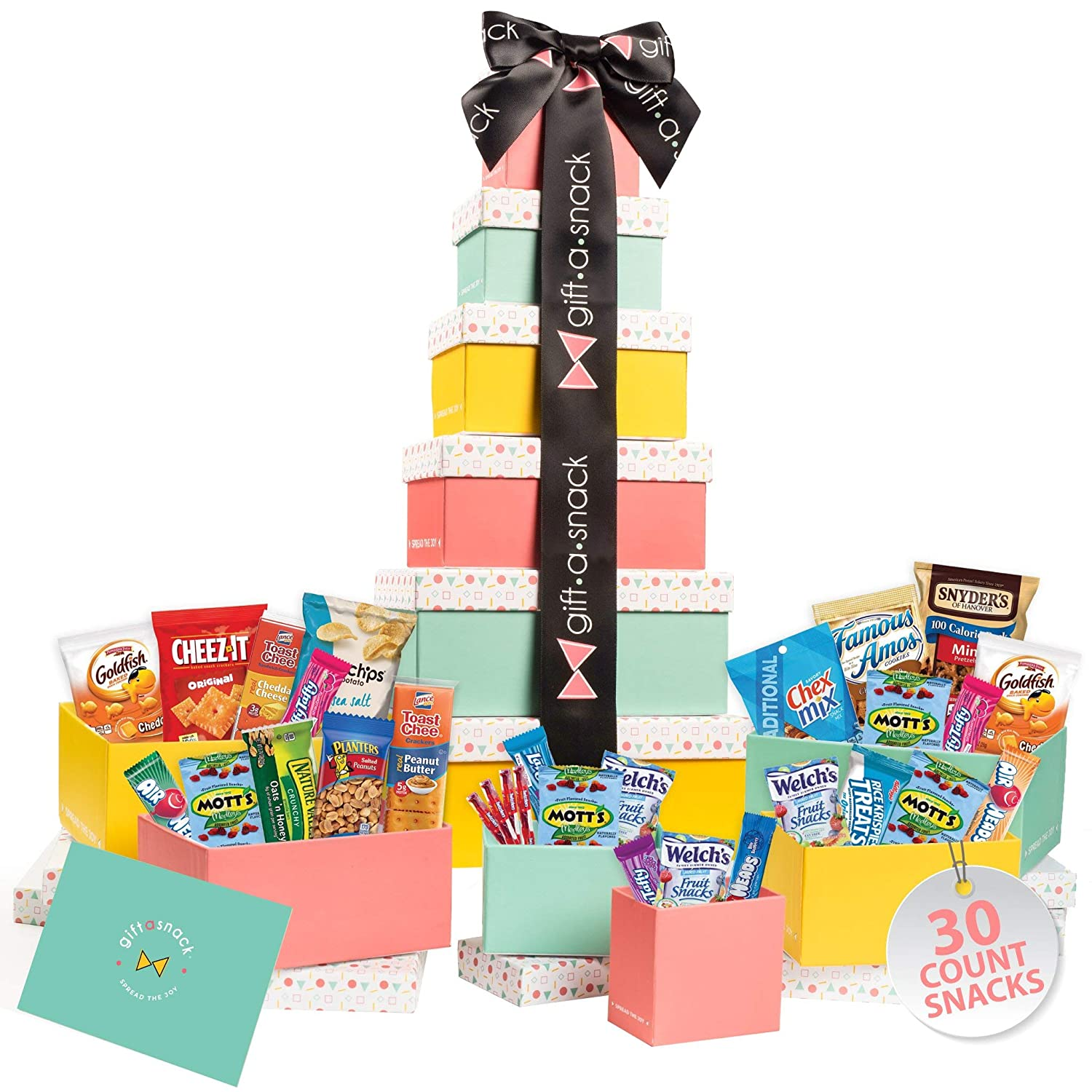 Tower Snack Box Variety Pack (30 Count) Candy Gift Basket - College Student Care Package, Prime Food Arrangement Chips, Cookies, Bars - Ultimate Birthday Treat for Women, Men, Adults, Teens, Kids