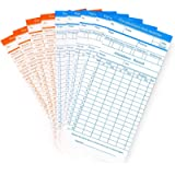 Flexzion Time Cards, Monthly Timesheet, Clock Timecard - 100 Pack, 6 Column 2-Sided Orange/Blue, Card for Time Punch…