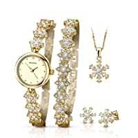Sekonda Ladies Rose Gold Flower Design Gift Set Watch 5 Piece Gift Set Watch , Bracelet , Pendant And Earring Set