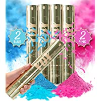 Revealations Gender Reveal Confetti Powder Cannon - Set of 4 Mixed (2 Blue 2 Pink) Gender Reveal Party Supplies - 100% Biodegradable Tissue Safe Powder Smoke