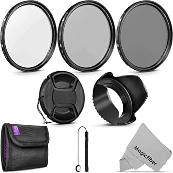 Lens Hood Camera Accessories Professional 52MM Lens Filter /& Accessory Kit Includes: 3 Filters Set ND Filters 4 Close-up Macro Filters UV FLD Polarizer ND2 ND4 ND8 +1 +2 +4 +10 Cap