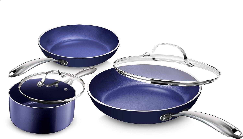 Granite Stone Diamond Blue Pots and Pans Set, 5 Piece