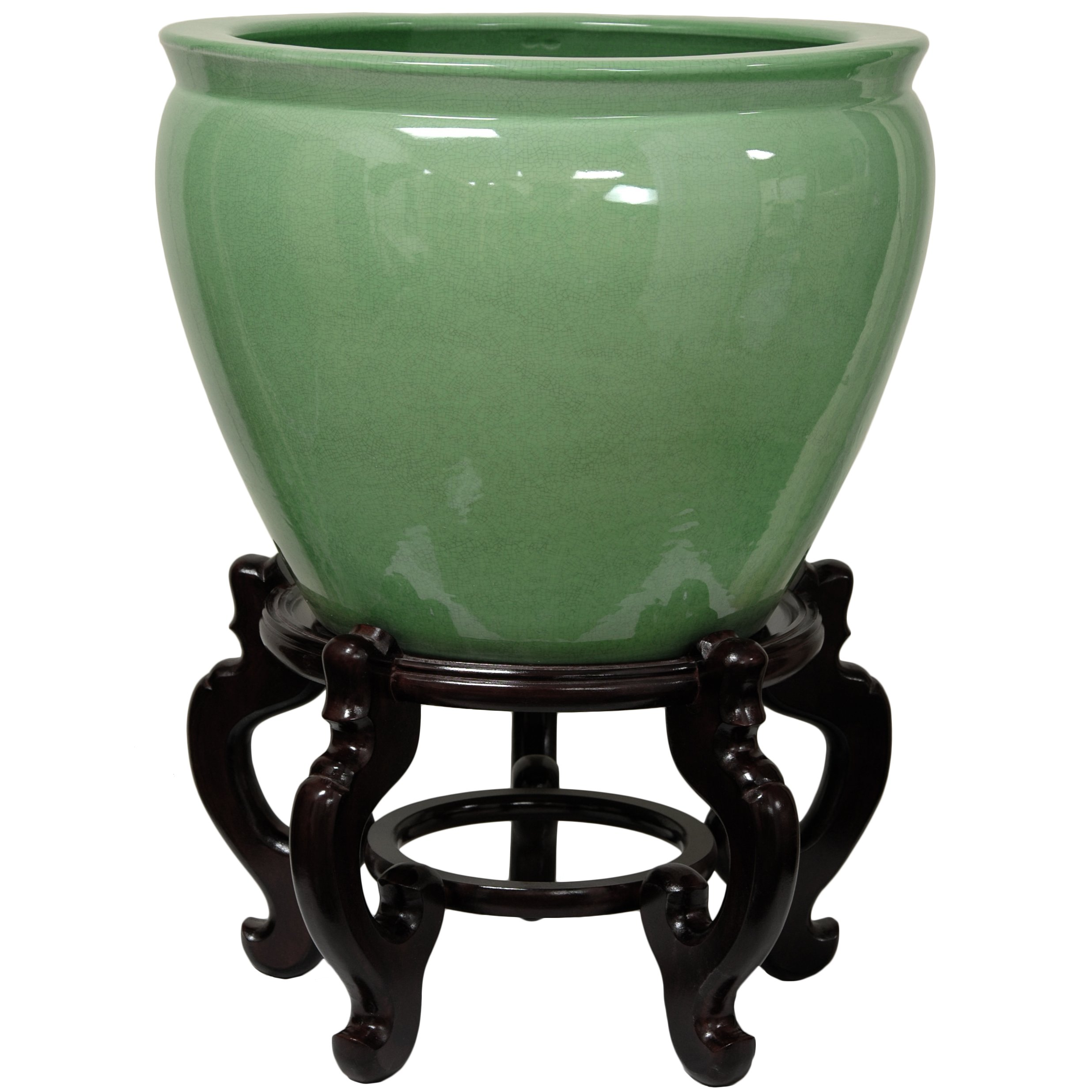 Oriental Furniture 20'' Celadon Porcelain Fishbowl by ORIENTAL FURNITURE