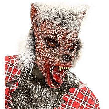 WIDMANN wid00383 – Máscara Medio Viso con Pelo Hombre Lobo, Rosa, Talla única