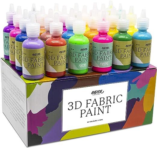 Pintura Textil 3D Nazca – Set 24 Colores (4 Neón UV) x 30ml – Pintura Permanente Perfecta para Pintar con Relieve sobre Tela, Ropa, Camisetas, ...