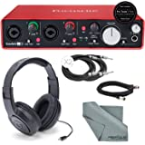 """Focusrite Scarlett 2i4 USB Audio Interface W/ Deluxe Accessory Bundle with XLR Cable + 2 ¼"""" Cables + Samson Headphone + FiberTique Cleaning Cloth"""