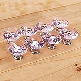 Accmart(TM) 30mm Crystal Glass Diamond Shape Cabinet Knob Doors Pull Handle Pink(Pack of 8)