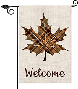AVOIN Fall Buffalo Check Plaid Maple Leaf Leaves Garden Flag Vertical Double Sided Welcome Quote, Seasonal Autumn Vintage Thanksgiving Rustic Yard Outdoor Decoration 12.5 x 18 Inch