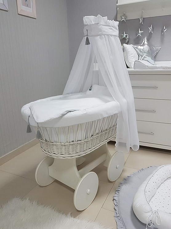 Babymajawelt® Moisés completo de 10 piezas, incluye colchón, carrito con ruedas grandes (engomadas), varios diseños (SAVI (blanco, plateado y blanco)