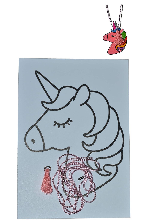 Fogli di polyshrink con accessori con motivi UNICORN: 1 fogli A6 con motivi UNICORN, 1 collana di perle colorate, 1 nappa rosa chiaro. Crea la tua collana di perle. Festa per bambini. Artigianato con Fogli di polyshrink. Per iniziare immediatamente. Tutto