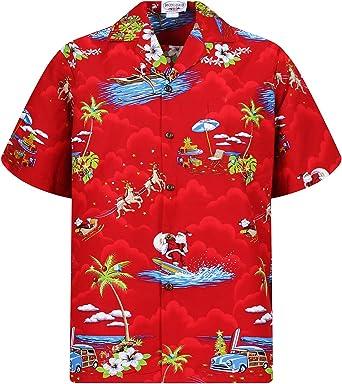 Pacific Legend | Original Camisa Hawaiana | Caballeros | S - 4XL | Manga Corta | Bolsillo Delantero | Estampado Hawaiano | Navidad | Papá Noel | Negro: Amazon.es: Ropa y accesorios