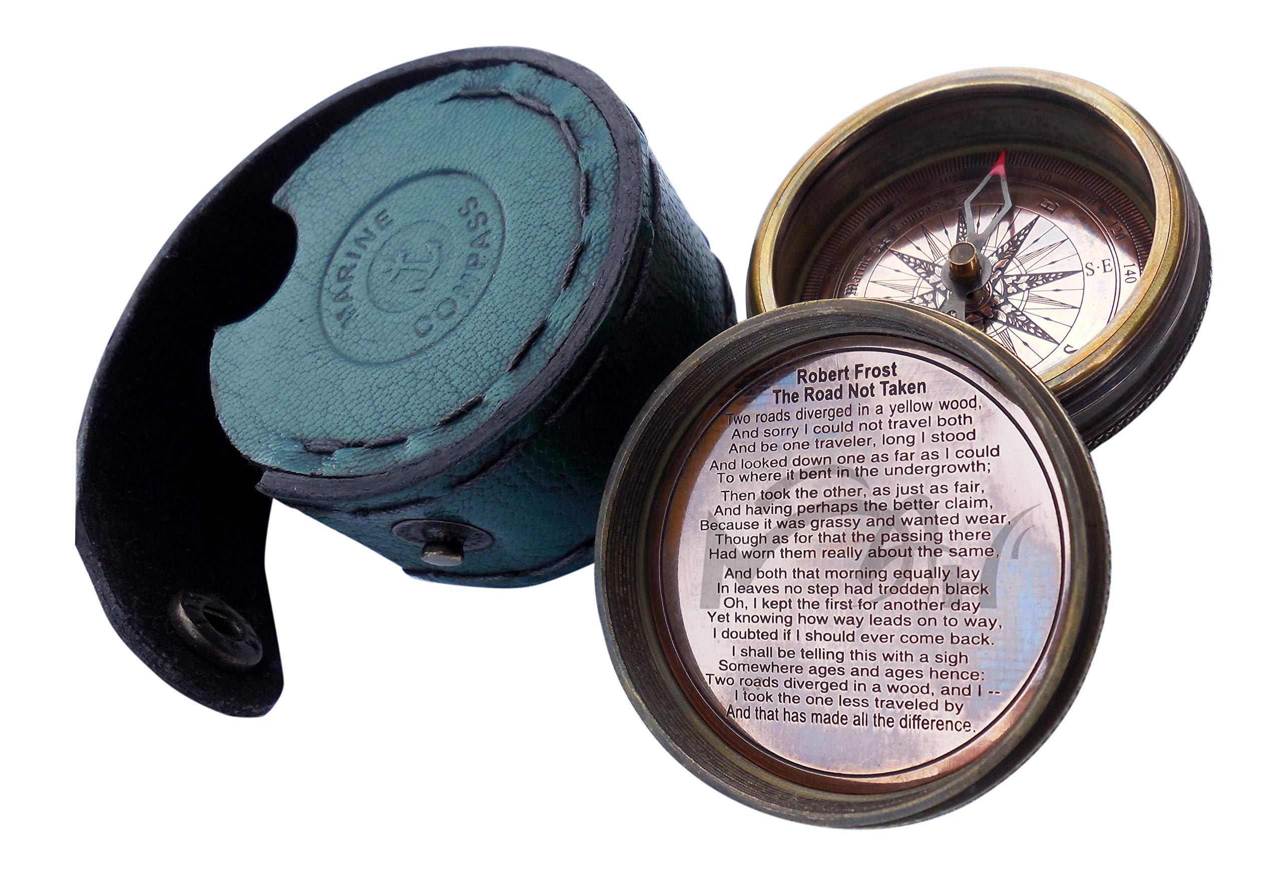 MAH Robert Frost Brass Poem Compass. C-3013