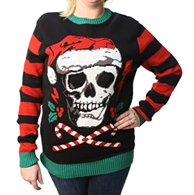 Ugly Christmas Sweater Plus Size Womens Skull Santa Hat Light Up