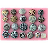 Funshowcase Sugarcraft Floral Medallion Button Candy Silicone Mold for Cake Decoration Cupcake Topper Jewel Crafting Projects