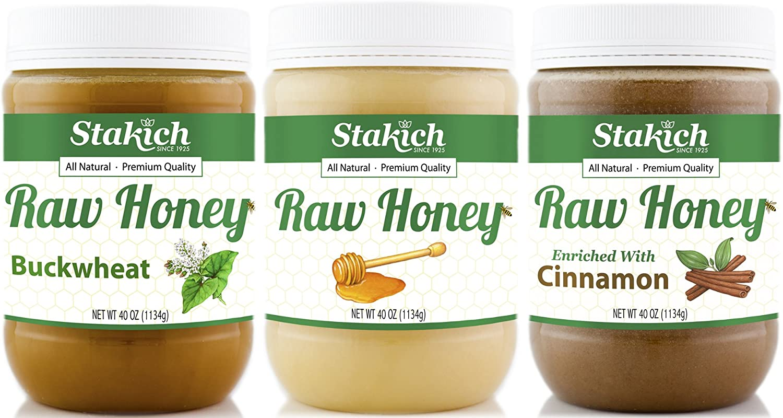 Stakich Gift Pack - Original Raw Honey, Cinnamon Raw Honey, Antioxidant Raw Honey - Pure, Unprocessed, Unheated, Kosher