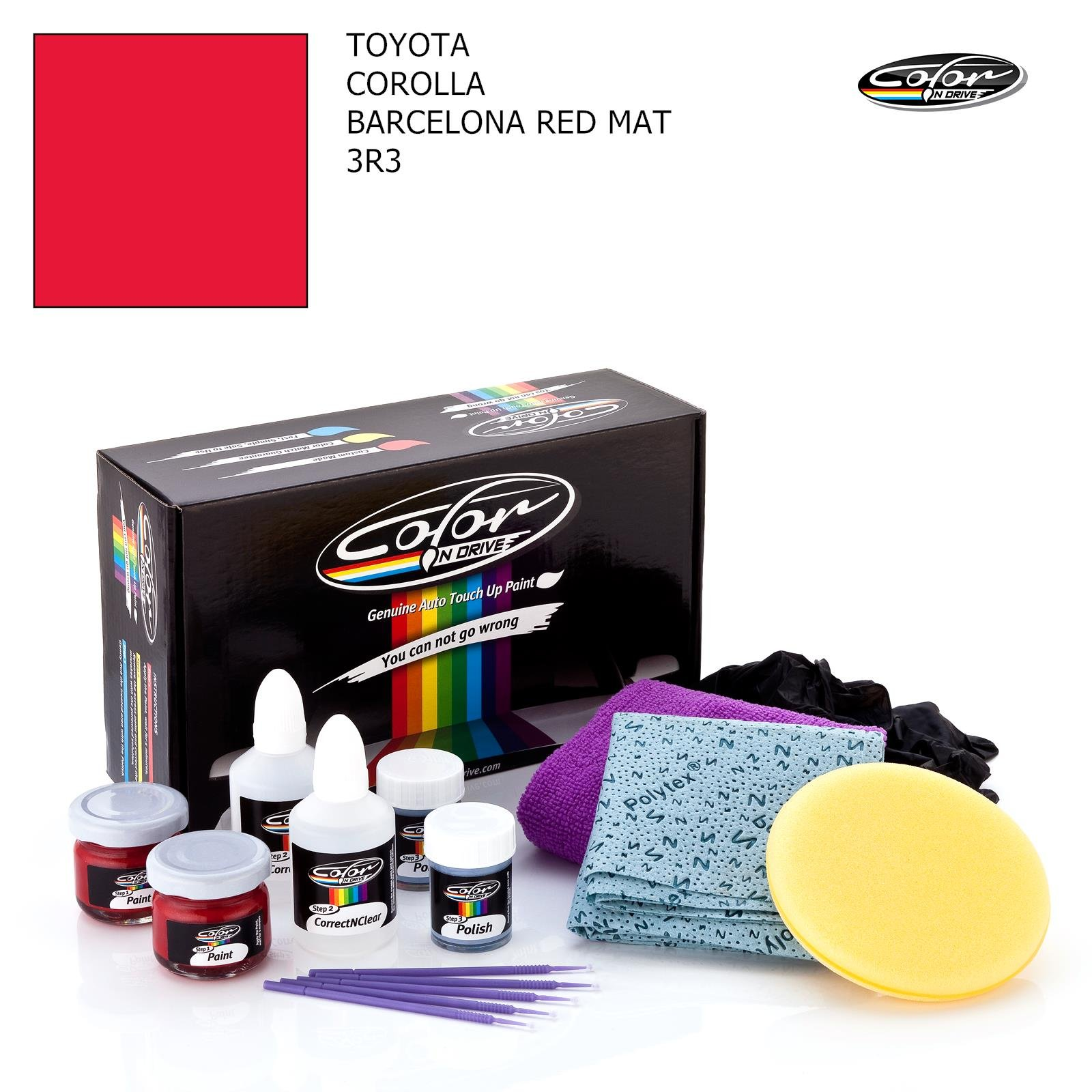 Toyota Corolla/Barcelona RED MAT - 3R3 / Color N Drive Touch UP Paint System for Paint Chips and Scratches/PRO Pack