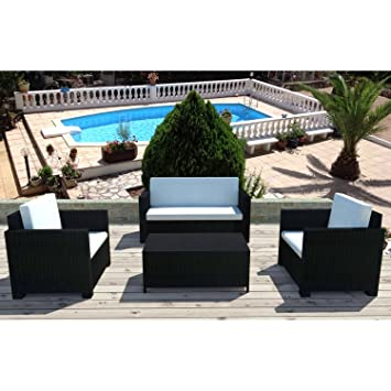 Concept-Usine Bali noir/blanc : salon de jardin 4 places en ...