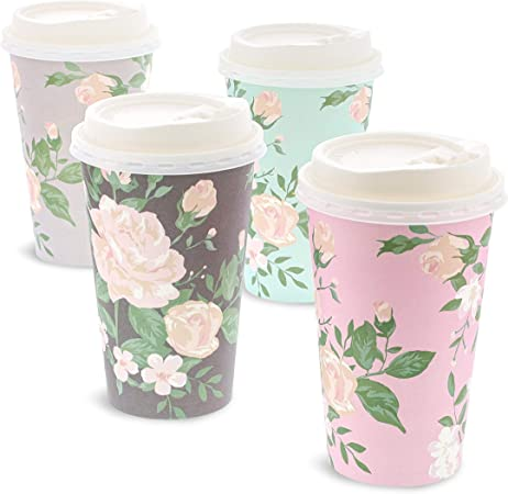 48 Pack Donut Insulated Disposable Coffee Cups with Lids, 16oz Paper Hot Cup to Go for Wedding Reception, Baby Shower, Birthday Party