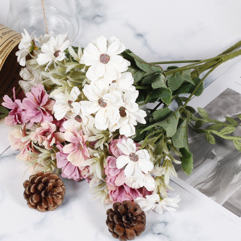 Epctek Artificial Daisy 2 Pcs Fake Daisy Flowers Bouquet Silk Daisy