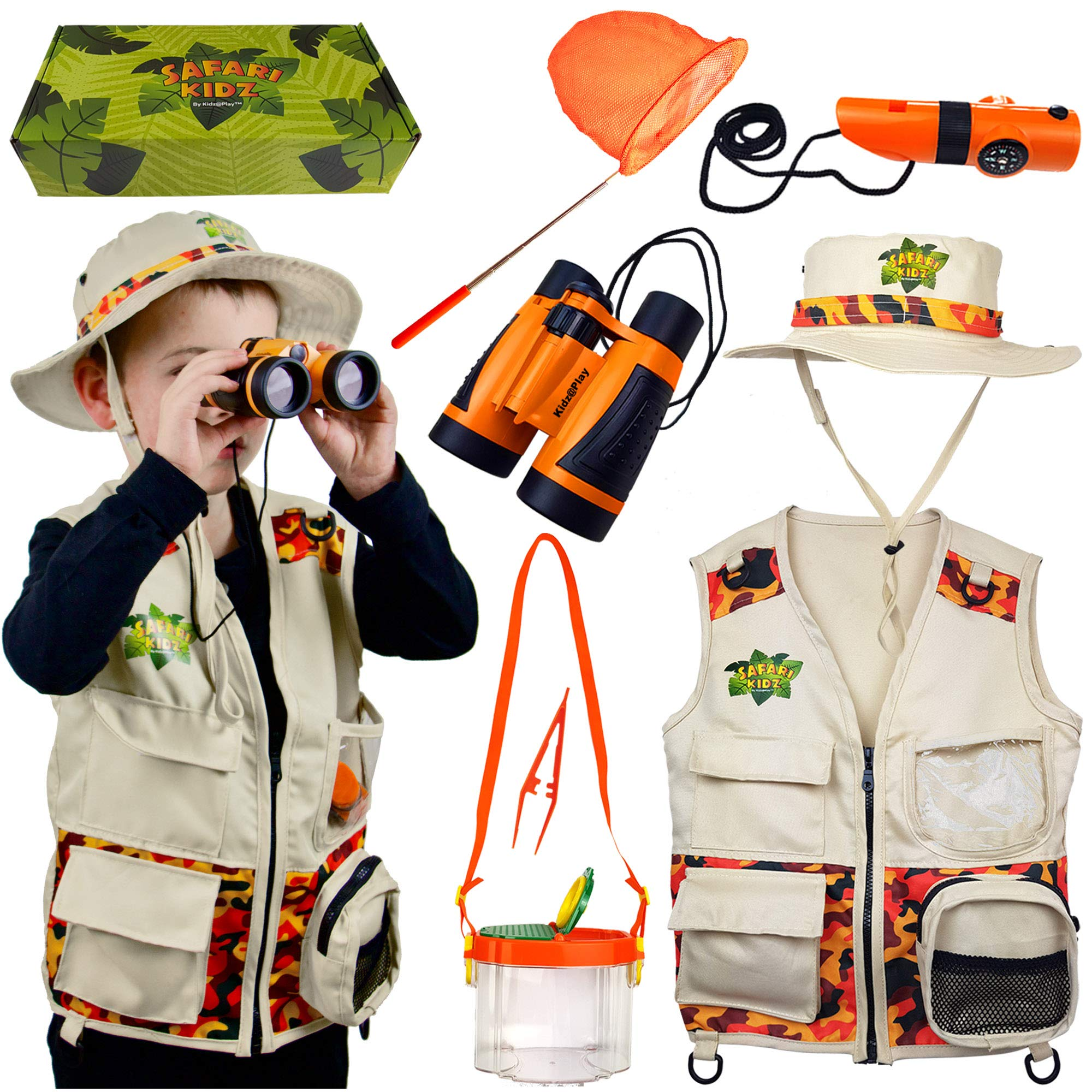 Safari Kidz Outdoor Adventure Set - Perfect Safari, Critter Hunting, Exploration Costume with Vest, Hat, Binoculars, Bug Net and Container, Whistle, Flashlight, Magnifying Glass