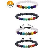4 Pieces Lava Stone Bracelets 7 Colors Chakra Beads, Aromatherapy Bracelets Bangles for Essential Oils