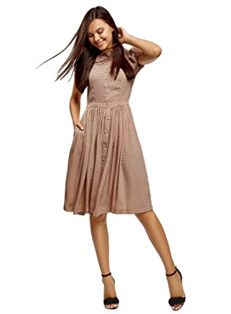0882a77fec9 oodji Ultra Mujer Vestido Midi con Falda Acampanada  Amazon.es  Ropa y  accesorios