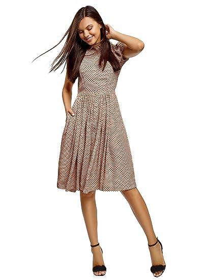 e191861ad971 oodji Ultra Femme Robe Mi-Longue avec Jupe Évasée  Amazon.fr ...