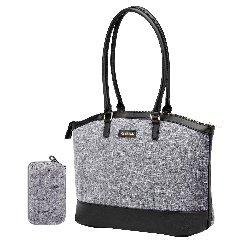 UtoteBag Laptop Tote Bag,Women 15.6 inch Laptop Shoulder Bag Lightweight Casual Nylon Briefcase for Computer Laptop Notebook Work Business (Grey)