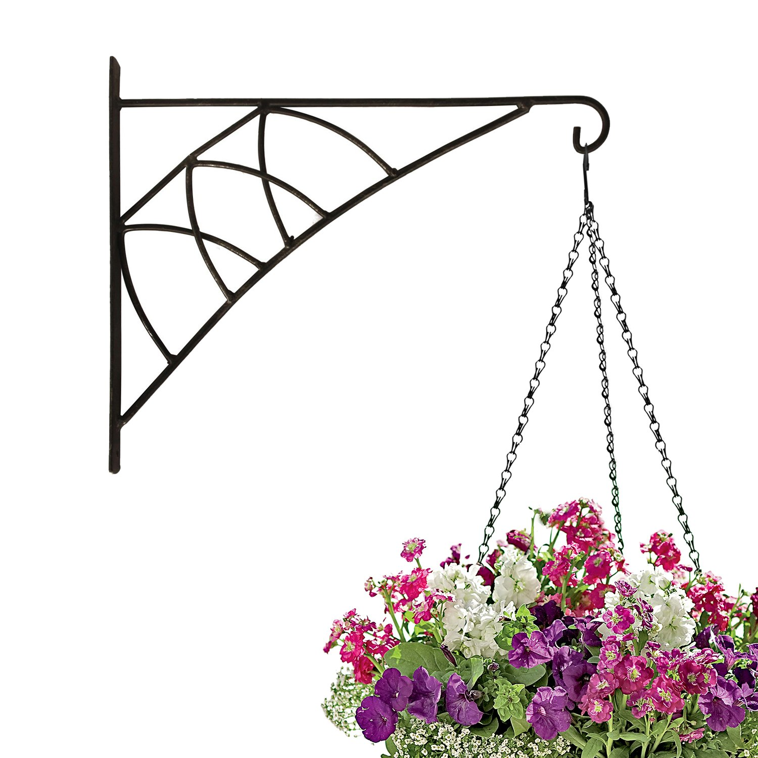 Amagabeli Large 14'' hanging plant hooks forged mount against door fence deck garage balcony outdoor lawn cast iron bracket for planters bird feeder lanterns wind chimes plant pot basket with screw