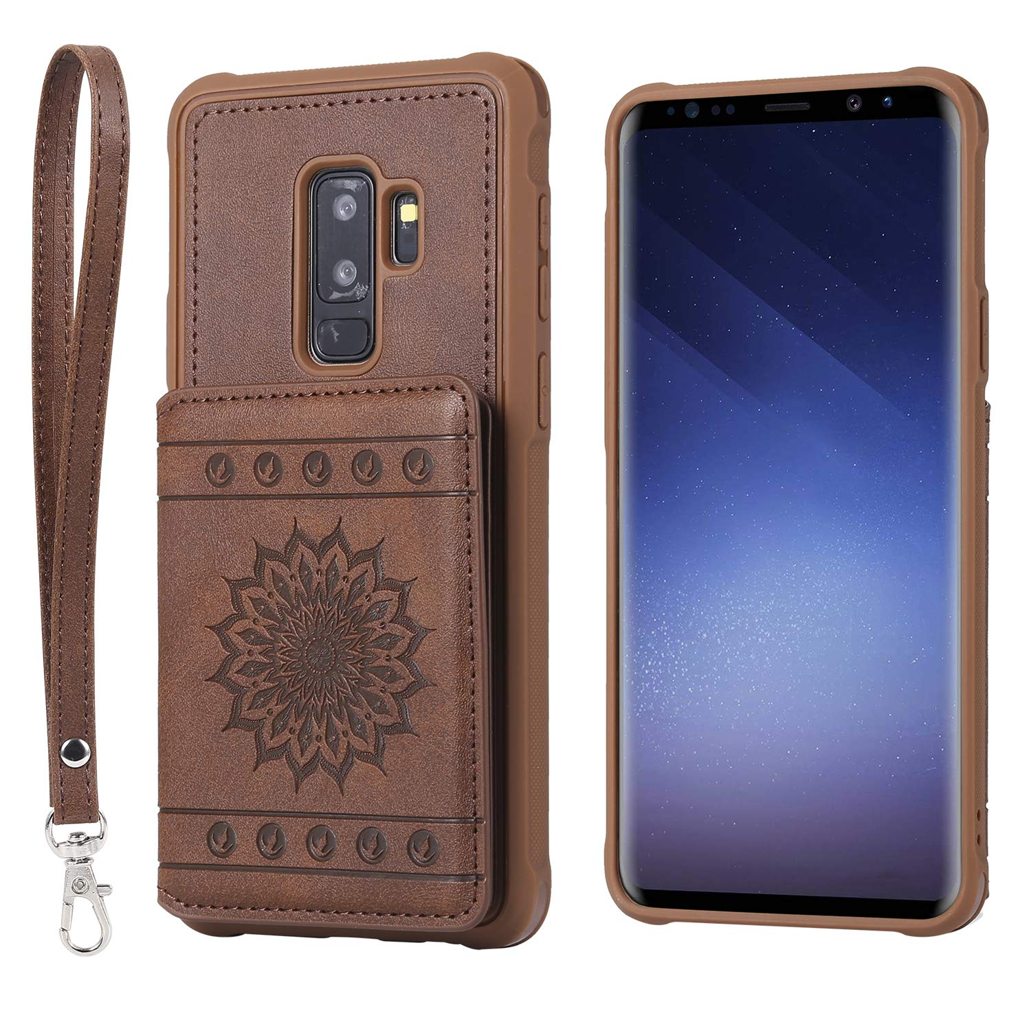 Shinyzone Slim Fit Back Wallet Case for Samsung Galaxy S9 with Card Holder, Embossed Sunflower Pattern PU Leather Flip Cover with Magnetic Stand Function with Detachable Lanyard, Black