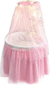 Badger Basket Sweet Dreams Round Doll Bassinet with Canopy and LED Lights for 18 inch Dolls , Pink/White/Gold (17905)