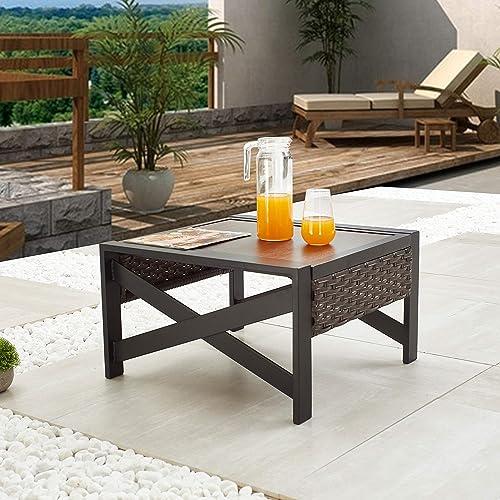 LOKATSE HOME Outdoor Metal Patio Bistro Coffee Side End Table