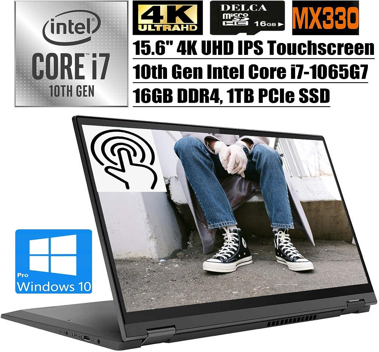 "Lenovo Flex 5 15 2 in 1 2020 Premium Laptop I 15.6"" 4K UHD IPS Touchscreen I 10th Gen Intel Quad-Core i7-1065G7 I 16GB DDR4 1TB PCIe SSD I MX330 2GB Backlit FP Win 10 Pro + Delca 16GB Micro SD Card"