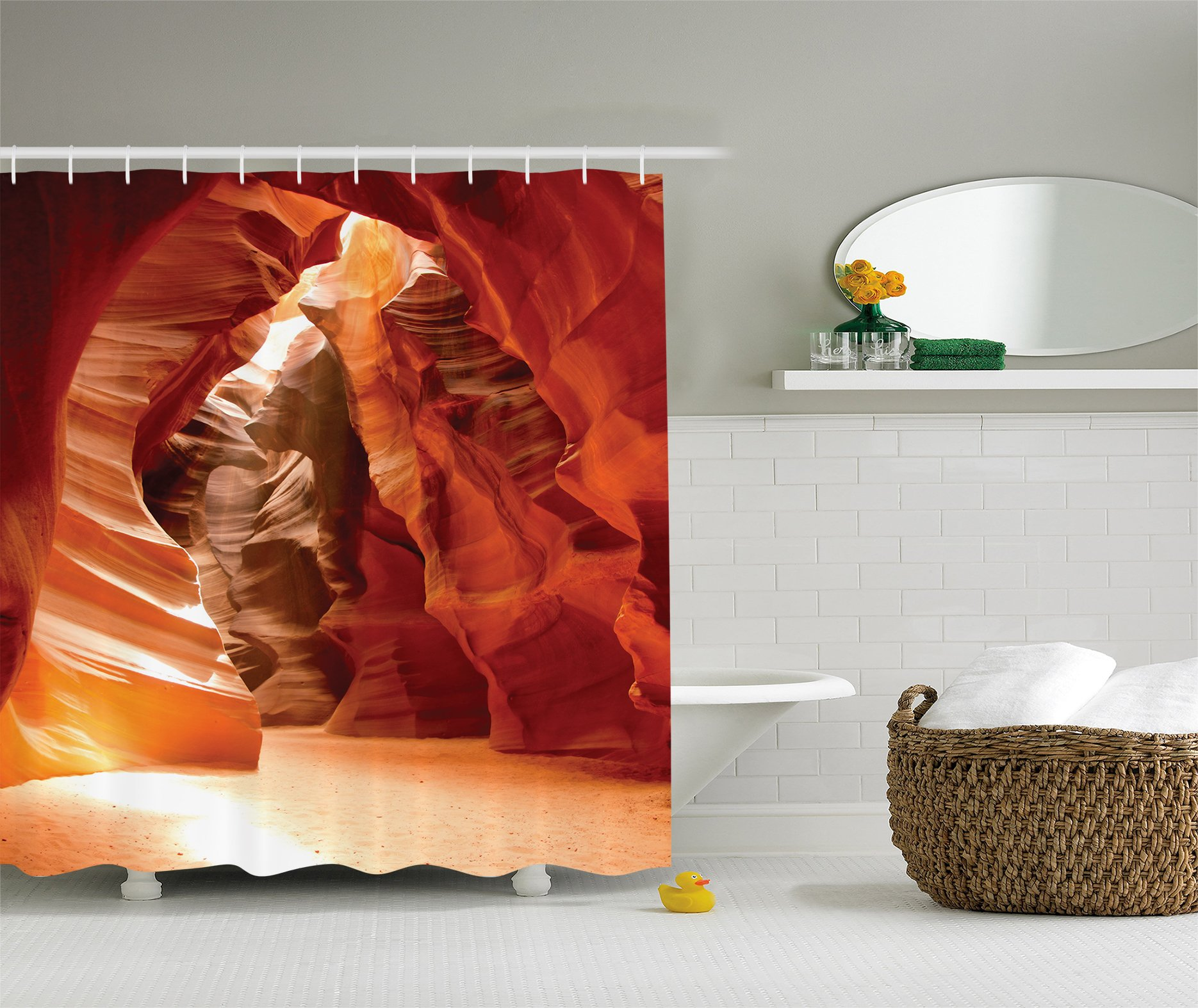 Ambesonne Americana Decor Shower Curtain, Grand Canyon Cave in Colorado Picture Print, Polyester Fabric Bathroom Shower Curtain Set with Hooks, Beige Brown Red Orange