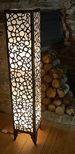 Morroccan style metal and fabric floor standing lamp from bali white