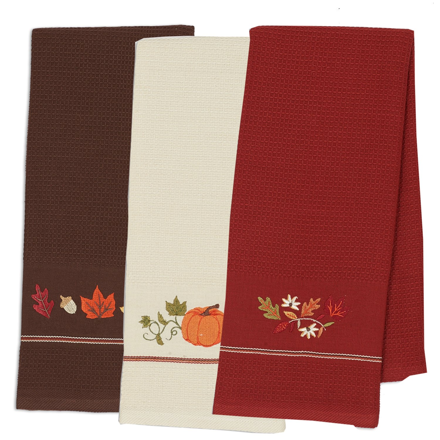 DII Cotton Thanksgiving Fall Holiday Decorative Dish Towels, 18x28'', Set of 3-Harvest Pumpkin by DII