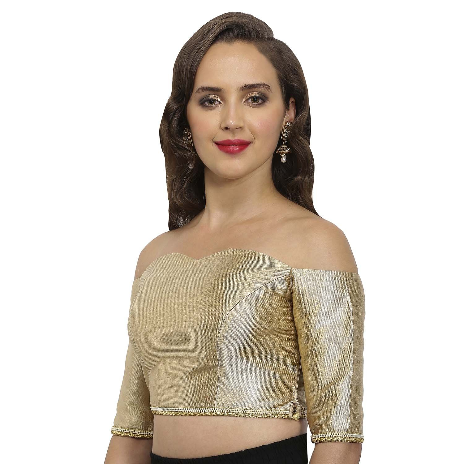 3d382502a11954 JustB Gold-beige Polyester Sweetheart Neck Readymade blouse  Amazon.in   Clothing   Accessories