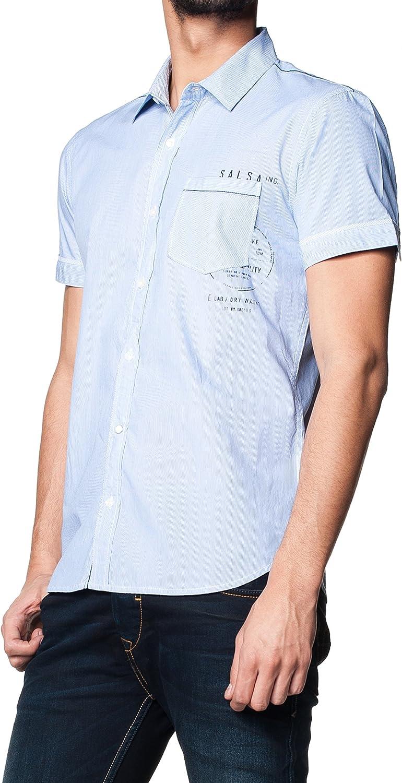 Salsa Camisa Monaco Slim Graficos Azul Claro L: Amazon.es: Ropa y accesorios
