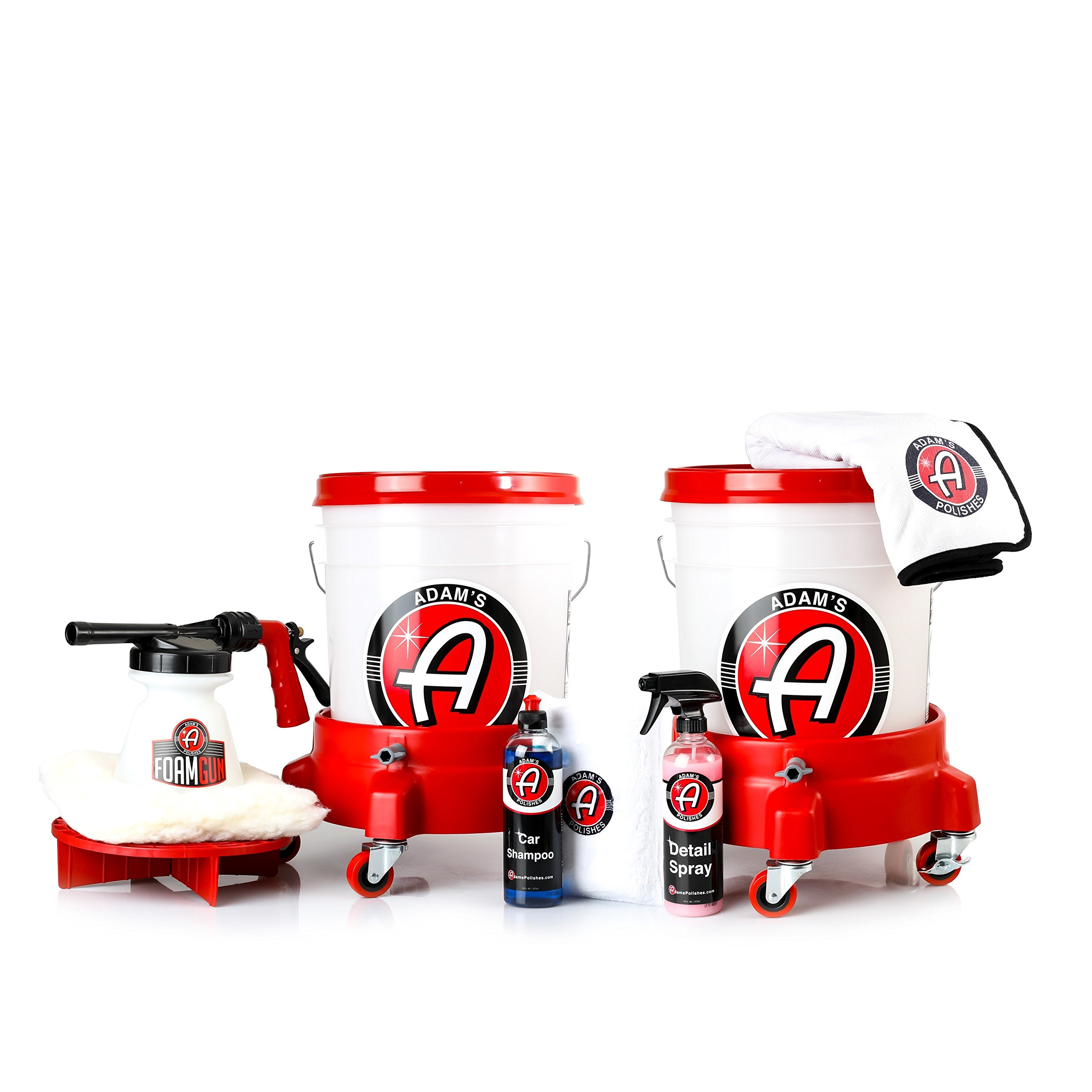 Adam's Two Bucket & Bucket Caddy Wash Kit - Easily Maneuver Your Buckets When You Wash - Safely and Effectively Wash and Dry Your Vehicles