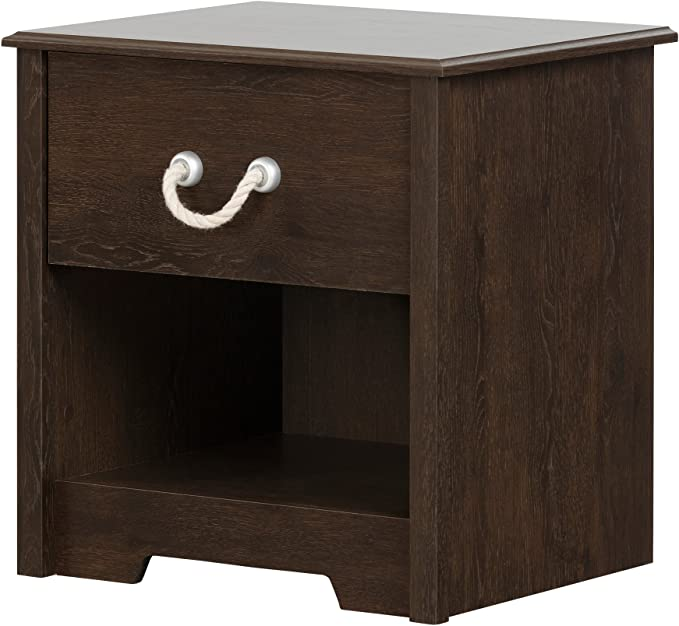 South Shore Aviron 1 Drawer Nightstand Brown Oak With Rope Handle Furniture Decor