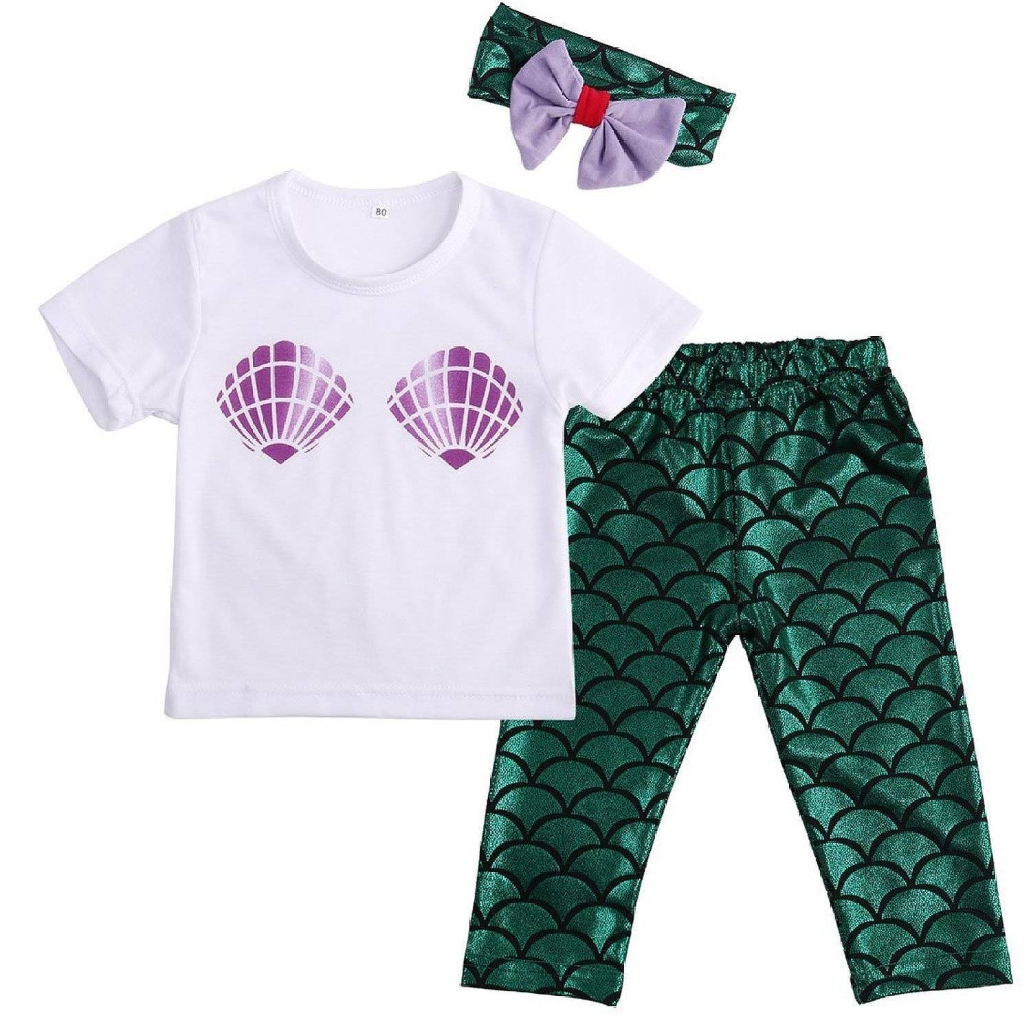 Baby Girls Cute Shell T-shirt + Mermaid Pants Outfit with Headband WANG76040