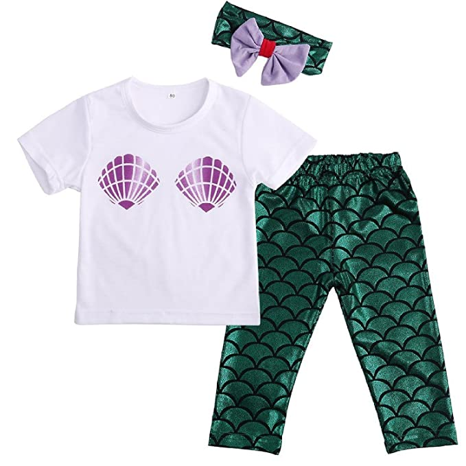 518823c5aa010 Baby Girls Cute Shell T-shirt + Mermaid Pants Outfit with Headband 0-6M