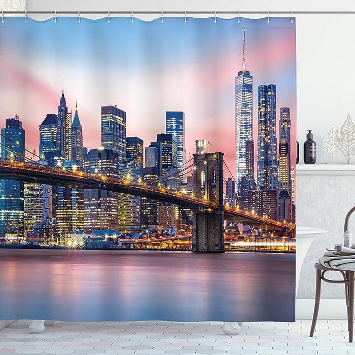 Ambesonne New York Shower Curtain, Brooklyn Bridge and Lower Manhattan Skyline Under Pink Sunrise Long Exposure Art Image, Cloth Fabric Bathroom Decor Set with Hooks, 84