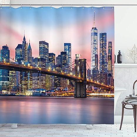 City Shower Curtain New York at Night Bridge Print for Bathroom
