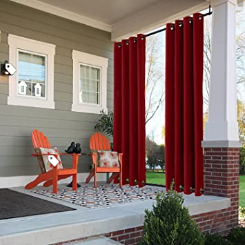 ChadMade Windproof Outdoor Curtain With Top Bottom Grommet Red 150u0026quot; W  X 84u0026quot; L